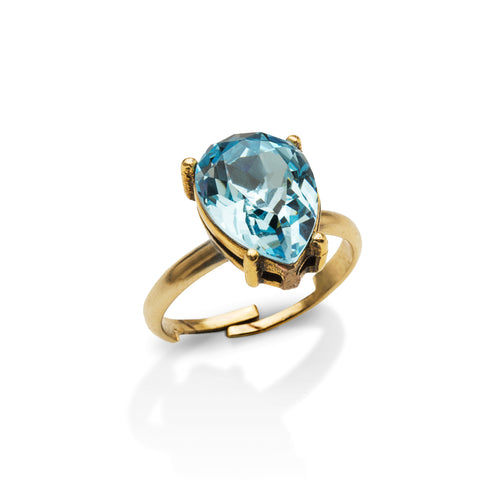 Aquamarine Blue Pear-Cut Gem Ring
