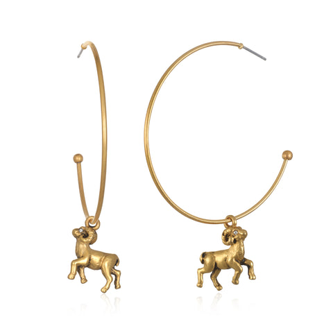 Aries Zodiac Hoop Earrings