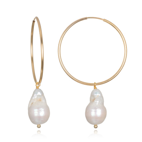 Audrey Pearl Hoop Earrings