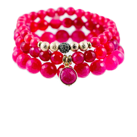 Berry Pink Color Karma Bracelet Set