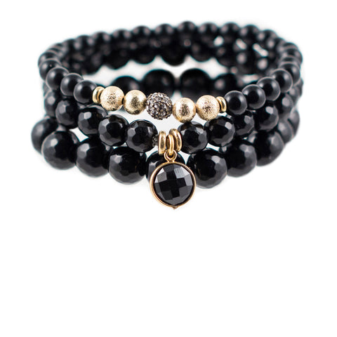 Black Color Karma Bracelet Set