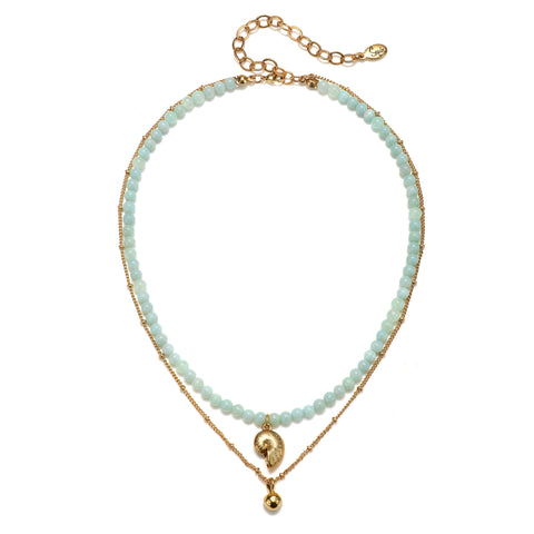 Baby Nautilus Aqua 2-Layer Talisman Necklace