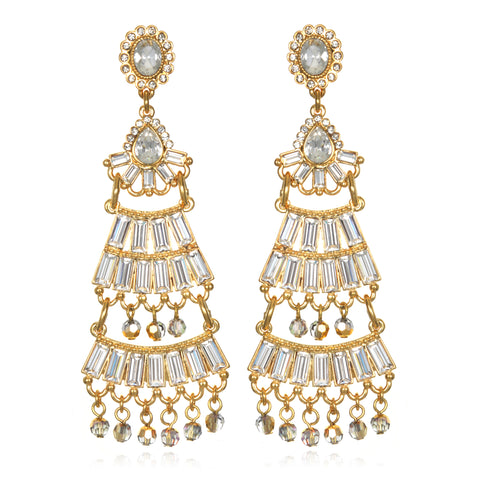 Baguette Fan Chandelier Earrings