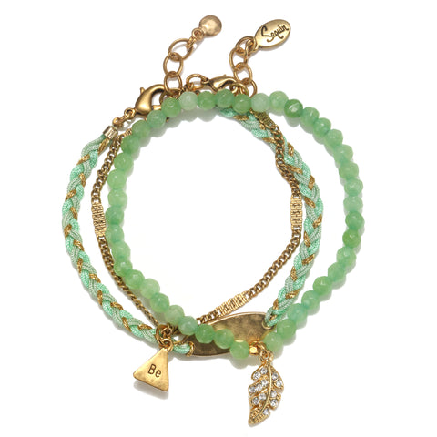"""Be"" Green Harmony Bracelet Set"