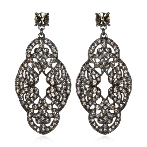 Black Deco Knot Drop Earrings