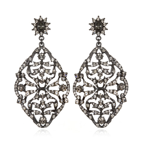 Black Deco Lace Drop Earrings