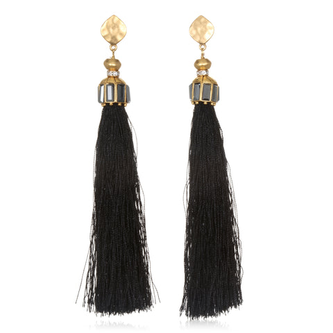 Black Hammered Gold Tassel Earrings
