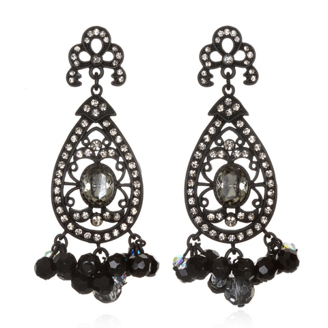 Black Victorian Lace Drop Earrings