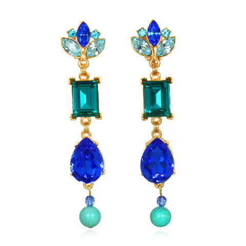 Blue Flower Jeweled Drop Earrings