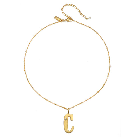 """C"" Block Initial Talisman Necklace"