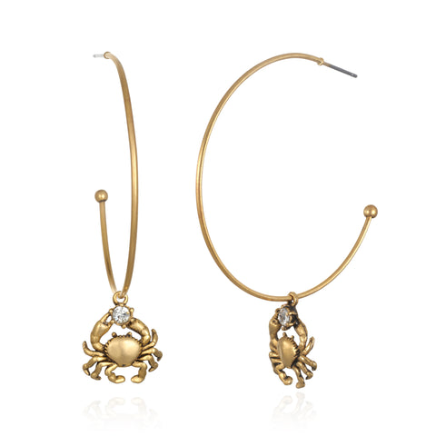 Cancer Zodiac Hoop Earrings