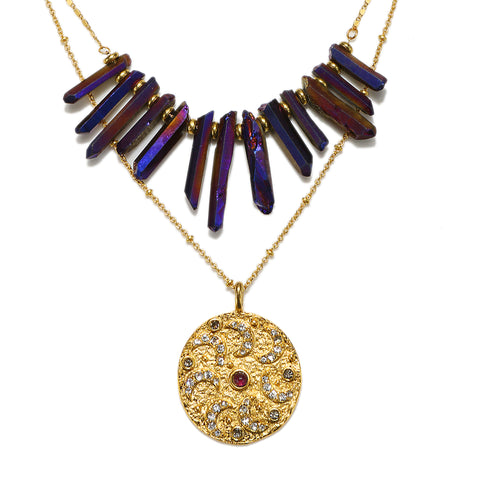 Celestial Flame Aura Crystal Layered Necklace