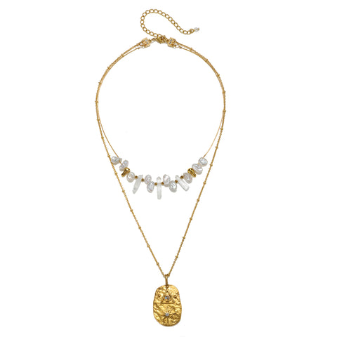 Celestial Hieroglyph Pearl & Crystal 2-Layer Necklace