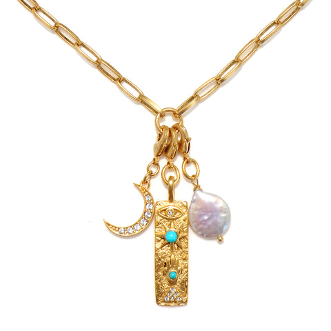 Celestial Talisman Trio Necklace with Convertible Charms