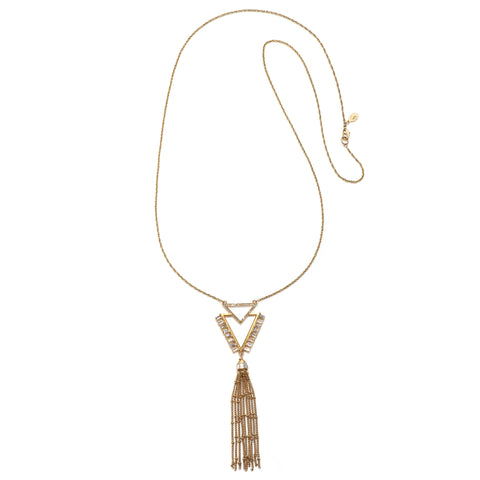 Chevron Tassel Statement Pendant Necklace