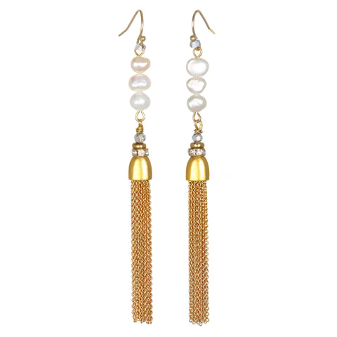 Clara Pearl Tassel Earrings