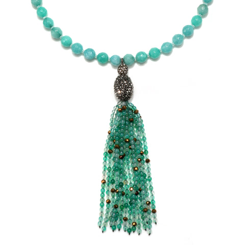 Mint Color Karma Tassel Necklace