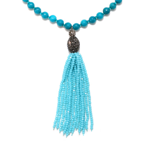 Turquoise Color Karma Tassel Necklace