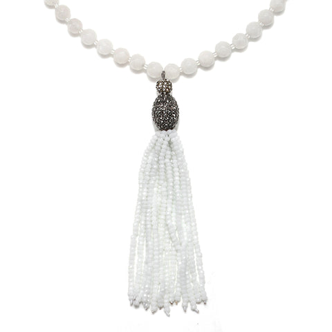 White Color Karma Tassel Necklace