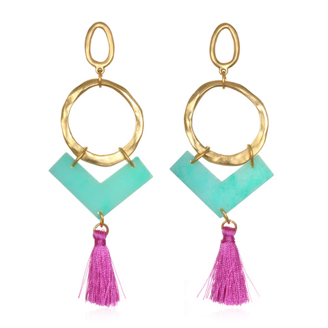 Bright Contrast Statement Tassel Earrings