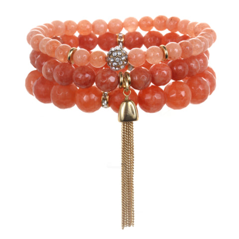 Coral Color Karma Bracelet Set