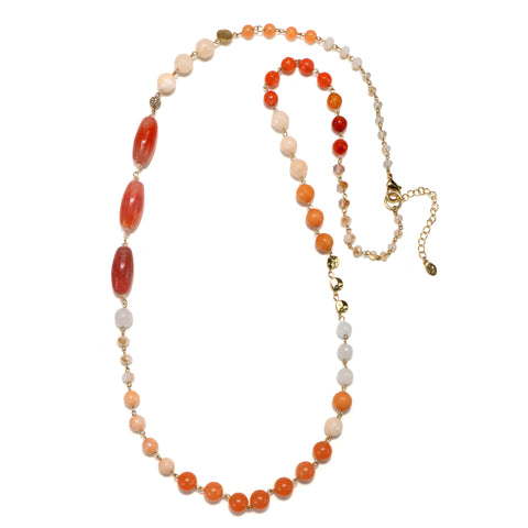 Coral Semi-Precious Strand Necklace