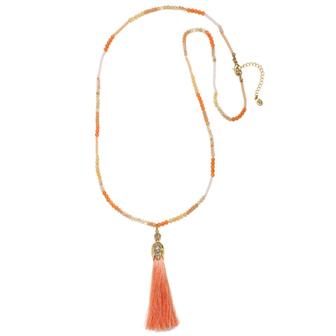 Coral Silk Tassel Necklace