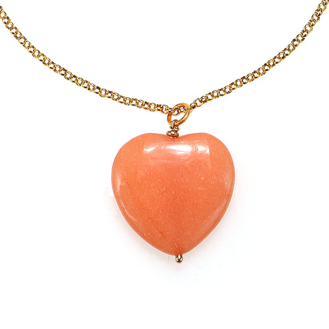 Coral Stone Heart Pendant Necklace
