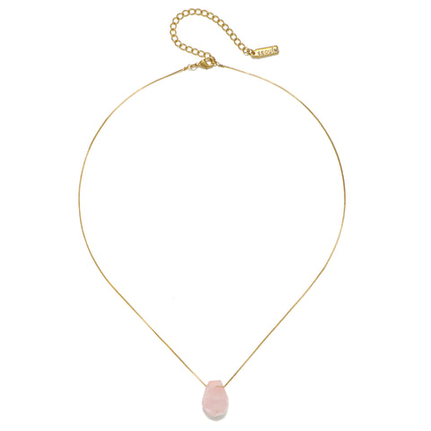 Cosmic Bliss Rose Quartz Crystal Short Necklace