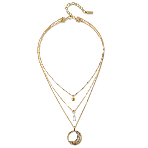 Crescent Moon Short 3-Strand Talisman Necklace