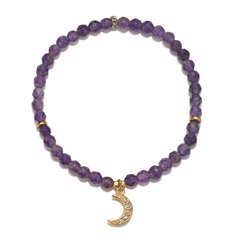 Crescent Moon Amethyst Color Karma Bracelet