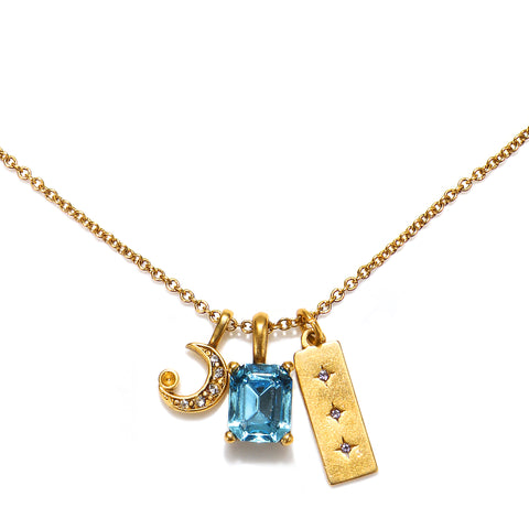 Crescent Moon Charm & Aqua Gem Necklace