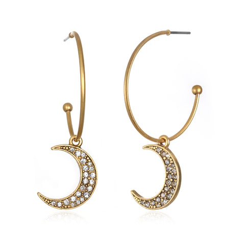 Crescent Moon Charm Hoop Earrings