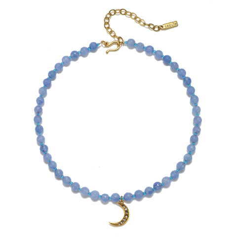 Crescent Moon Light Blue Color Karma Choker Necklace