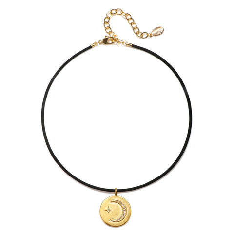 Crescent Moon Talisman Choker Necklace - Suede Cord