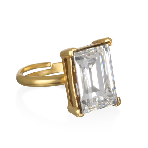 Crystal Emerald-Cut Gem Ring
