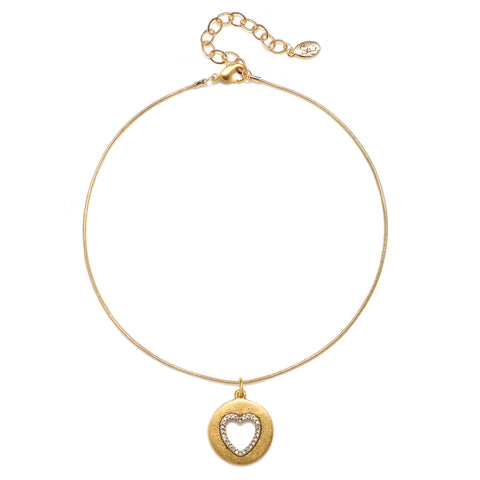Cutout Pave Heart Talisman Choker Necklace - Snake Chain