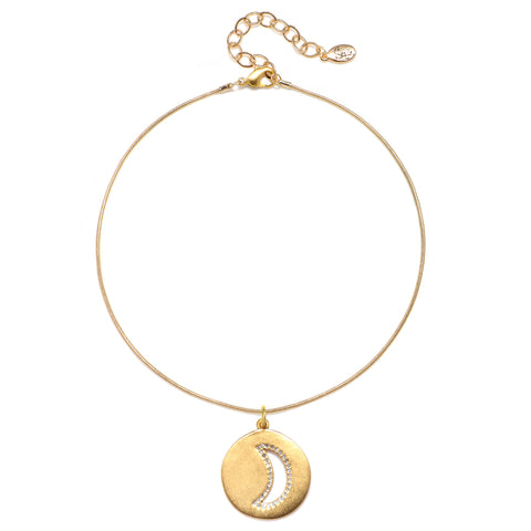 Cutout Pave Moon Talisman Choker Necklace - Snake Chain