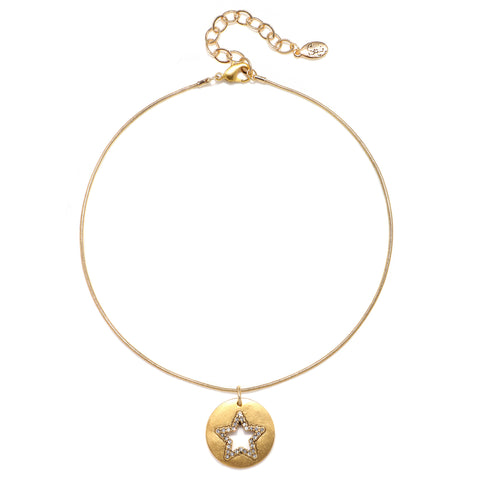 Cutout Pave Star Talisman Choker Necklace - Snake Chain