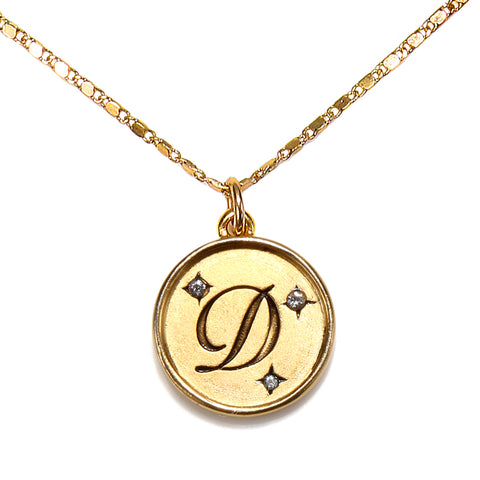 """D"" Round Script Initial Necklace"
