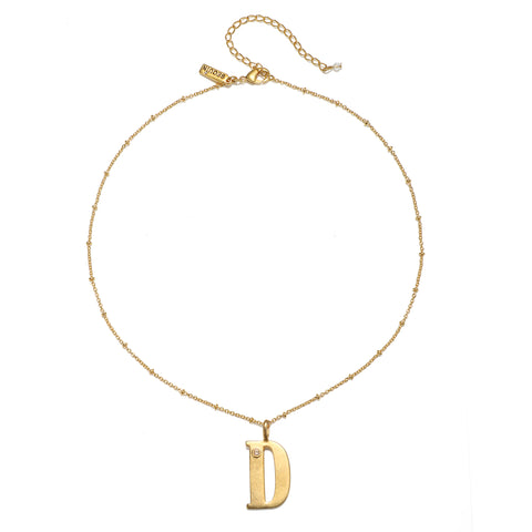 """D"" Block Initial Talisman Necklace"