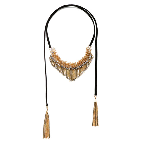 Decadent Fringe Velvet Choker Necklace