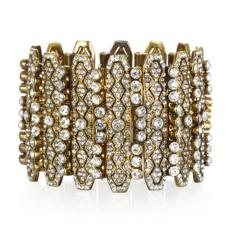 Deco Sparkle Shield Cuff Bracelet
