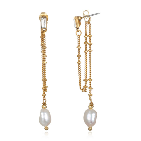 Delicate Dangle Pearl Earrings