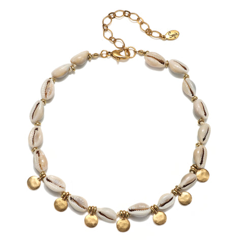 Delicate Cowrie Shell & Dangle Choker Necklace