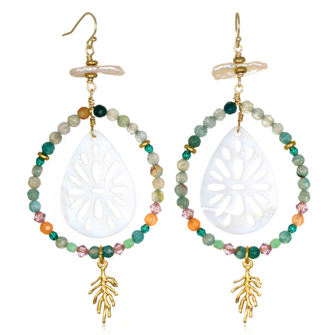 Delta Beaded Doorknocker Earrings