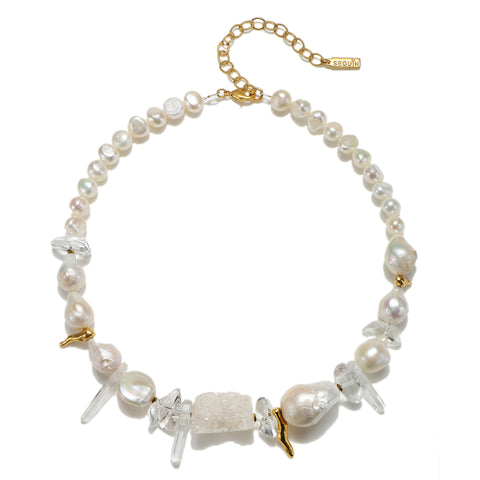 Divine Dream Pearl & Crystal Choker Necklace