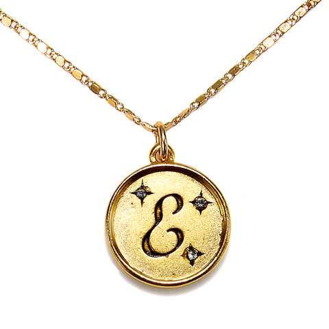 """E"" Round Script Initial Necklace"