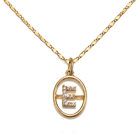 """E"" Chloe Initial Talisman Necklace"