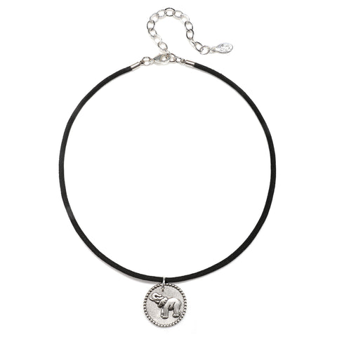 Elephant Talisman Choker Necklace - Suede Cord